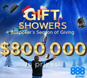 888poker hat wieder die Gift Showers im Programm: $800.000 werden an Geschenken ausgeschüttet